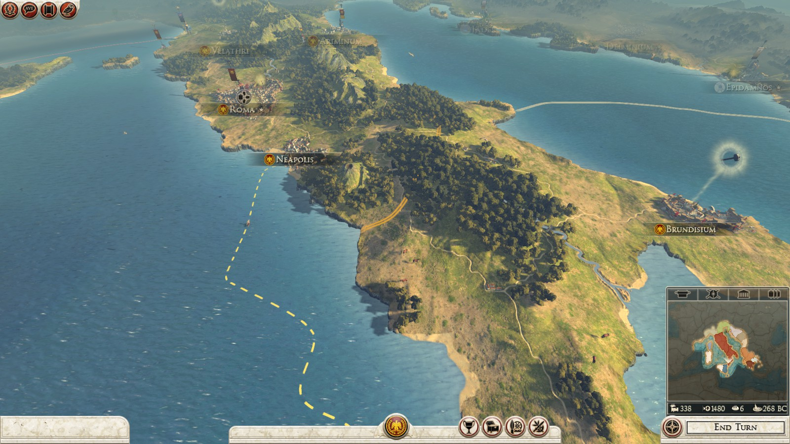 Península itálica, uma pequena porção do mapa da Campanha