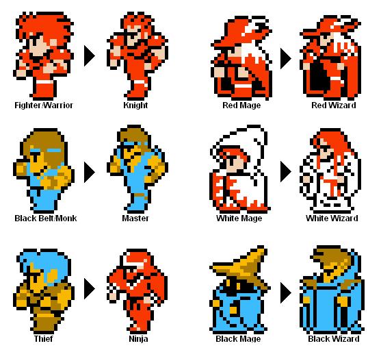 Os pixels... quero dizer, classes de Final Fantasy