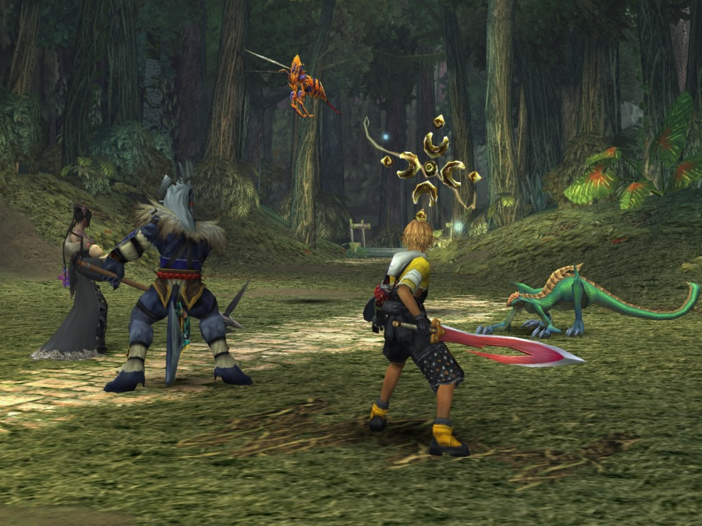 Lulu, Kihmari e Tidus em batalha
