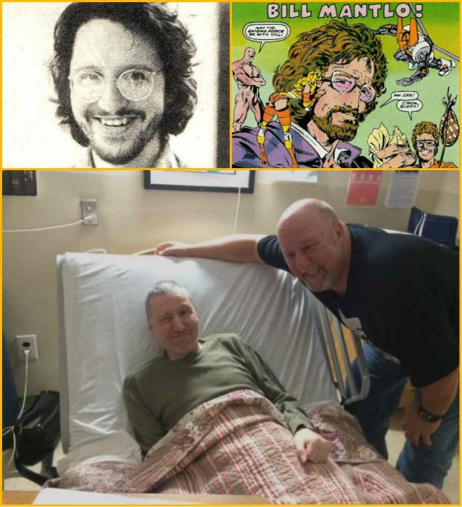 (1) Bill Mantlo no auge de sua carreira; (2) Mantlo em quadrinhos, cercado de seus personagens e (3) Mantlo hoje, tragicamente preso a uma cama de hospital.
