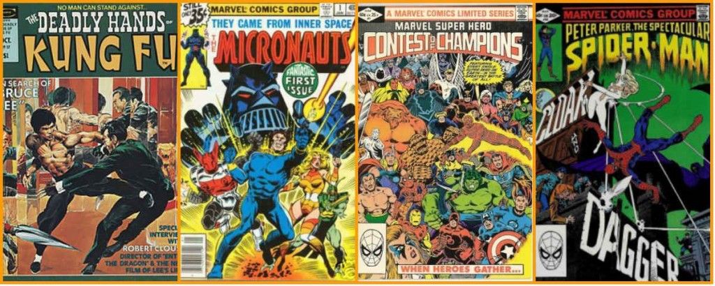 """(1) Deadly Hands of Kung Fu, primeira revista fixa de Mantlo; (2) Micronautas #1, sua primeira grande criação, também com base em brinquedos; (3) Contest of Champios, a primeira minissérie da Marvel - considerada o primeiro grande """"evento"""" do mercado editorial de super-heróis e co-escrito por Mantlo e (4) Manto e Adaga, em sua primeira aparição, também criados por Mantlo."""