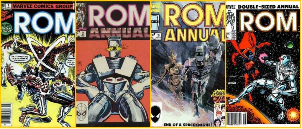 As capas dos quatro Rom: Annual.