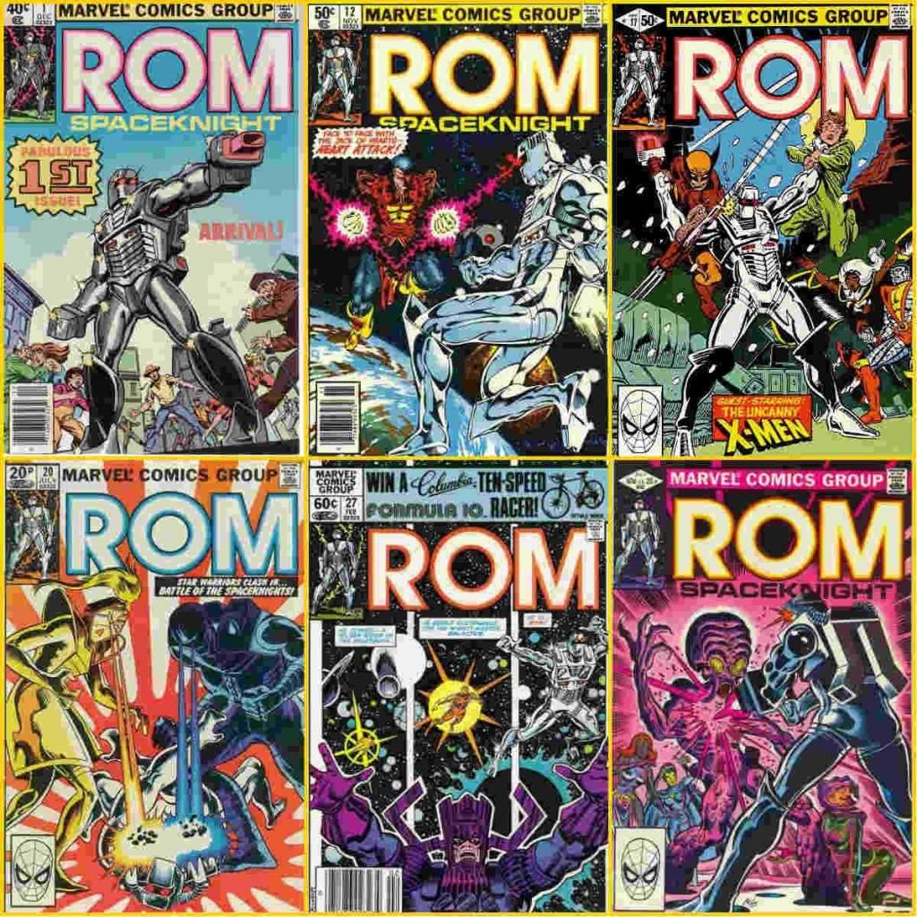 No sentido horário: (1) Rom #1; (2) Rom e Valete de Copas; (3) Rom e os X-Men; (4) Rom sendo atacado pela primeira versão de Starshine e pelo Exterminador; (5) Rom e Galactus e (6) Rom e O Híbrido (além da Irmandade de Mutantes.