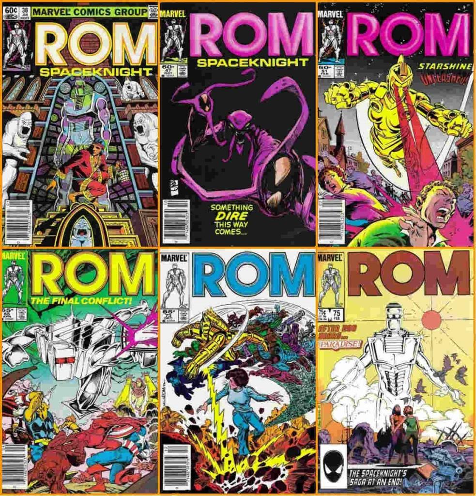 No sentido horário: (1) Rom e Shang-Chi; (2) Espectro fêmea; (3) Starshine na versão Brandy Clark; (4) Rom #65, onde acontece a batalha final na Terra contra os Espectros e o momento em que a série deveria ter acabado; (5) Brandy Clark sendo atacada pela nova geração de Cavaleiros do Espaço e (6) Rom #75, número final.