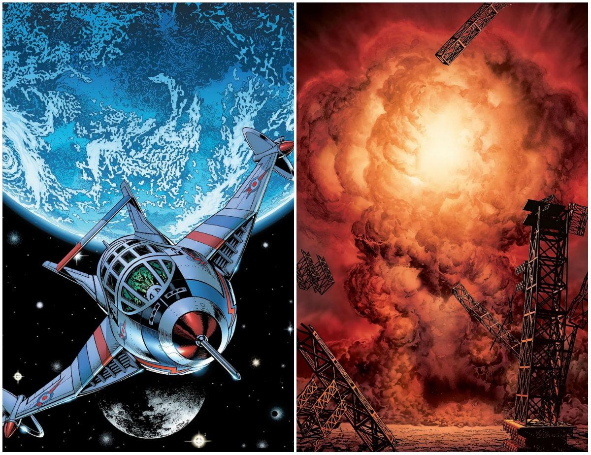 plano crítico nave no espaço e explosão ministério do espaço quadrinhos
