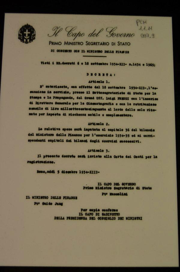 cinecitta decreto mussolini