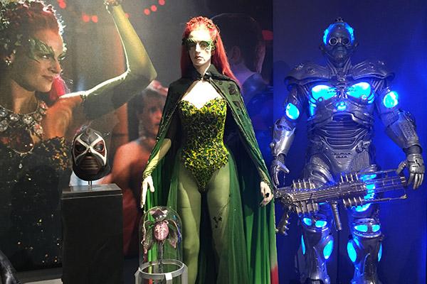 The bad guys: A máscara de Bane e os trajes de Hera Venenosa e Mr. Freeze.