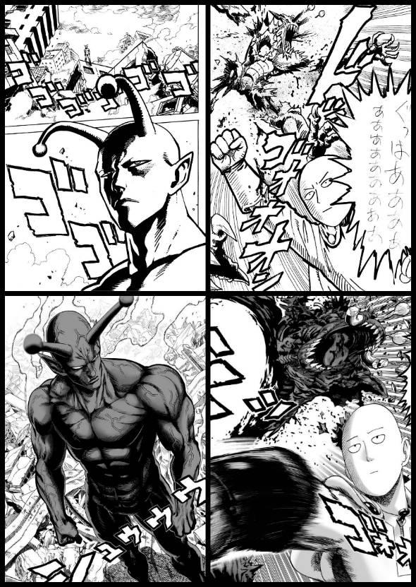Acima, a arte de ONE, na web. Abaixo, a versão de Murata para as mesmas sequências. Vejam como o Piccolo maromba ficou mais interessante na versão impressa.