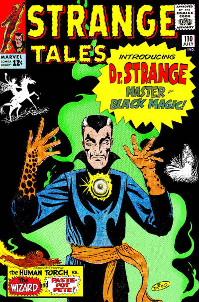 Perceba que ele aina não usa a famosa capa. Ela só apareceria na Strage Tales #114.