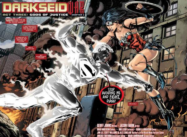 """Um Superman negro após ressurgir dos fornos de Apokolips, onde foi """"recarregado, por sugestão de Luthor."""