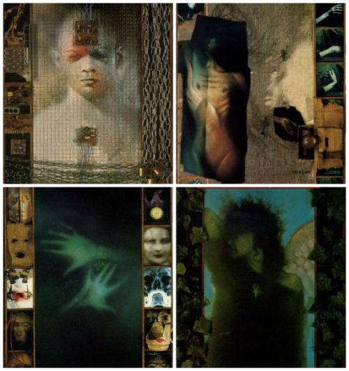 Capas das edições #5 a 8, construídas por Dave McKean.