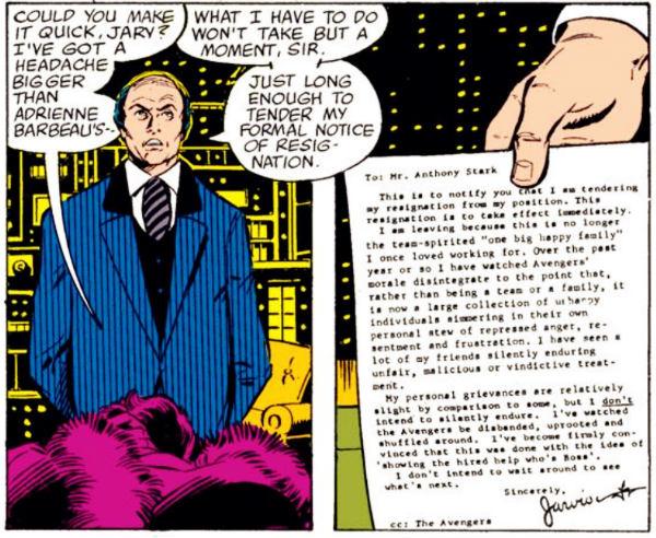 se demite da Marvel com estilo e sua carta de demissão é misteriosamente publicada na Homem de Ferro #127.