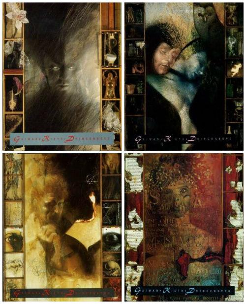 Capas das edições #1 a 4, construídas por Dave McKean.