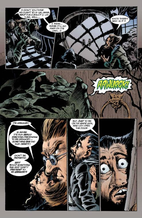 Caim e Abel ouvindo Gregory, o Dragão-Gárgula, bater na porta para entregar um alquebrado Sandman.