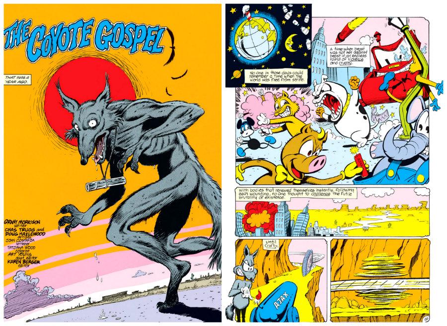 o evangelho do coiote plano critico cena grant morrison cartoon desenho