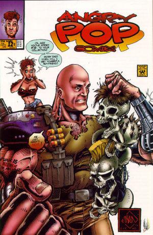 Angry Pop Comix (arte de Ethan Van Sciver). O personagem de Michael Rooker é mostrado como um guerreiro de armadura segurando a caveira de T.S. e Brandi.