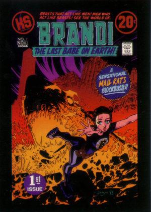 Brandi - The Last Babe on Earth. Personagem de Claire Forlani foge de um tubarão emergindo da lava. Referência ao personagem de Jack Kirby e à revista Kamandi - O Último Menino da Terra.