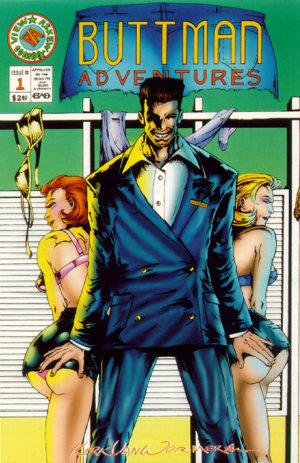 Buttman Adventures (arte: Kirk Van Wormer). Personagem de Ben Affleck em uma revista parodiando Batman Adventures.