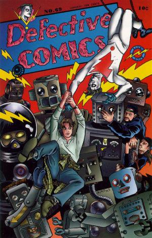 Defective Comics (arte: Mike Allred). Personagem de Jeremy London em uma paródia da Detective Comics.