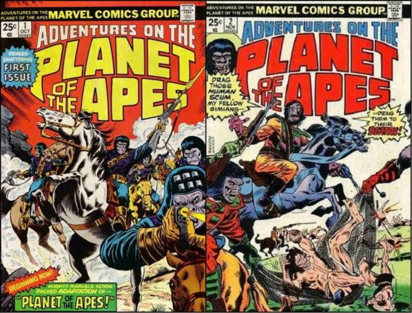 As capas das duas primeiras edições de Adventures on the Planet of the Apes, que republicaram a adaptação à cores.