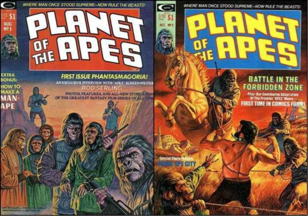 As capas dos dois primeiros números da revista Planet of the Apes.