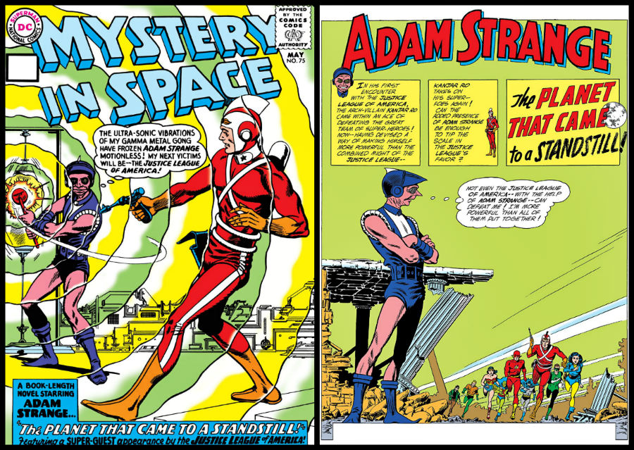 plano critico adam strange e liga da justiça mistery in space