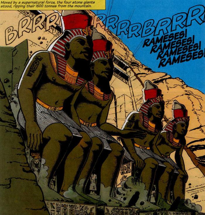 Papyrus - The Rameses Revenge estatuas se levantando plano critico