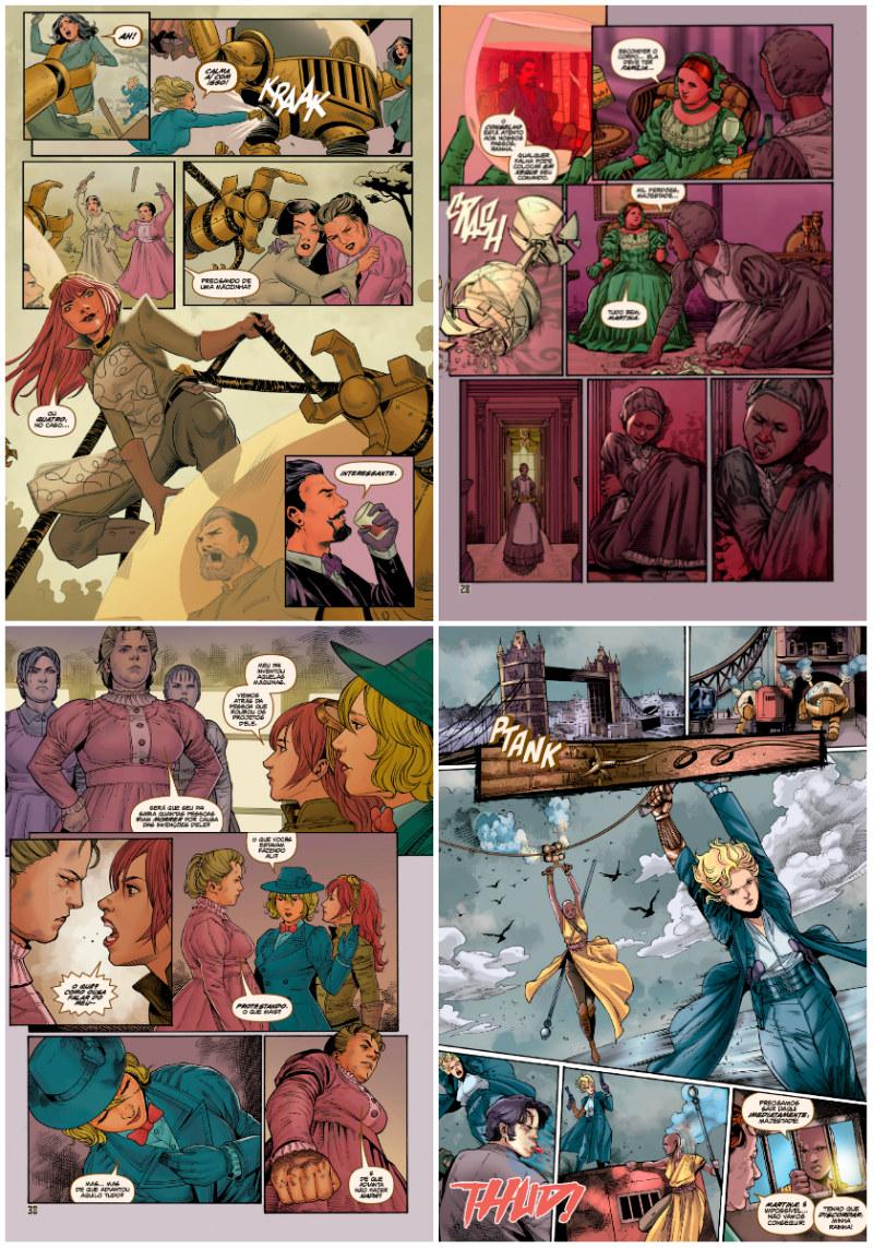 plano crítico Steampunk Ladies Choque do Futuro arte plano crítico quadrinhos